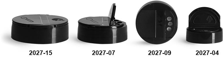 Plastic Caps, Black Polypropylene Spice Caps w/ Pressure Sensitive Liners