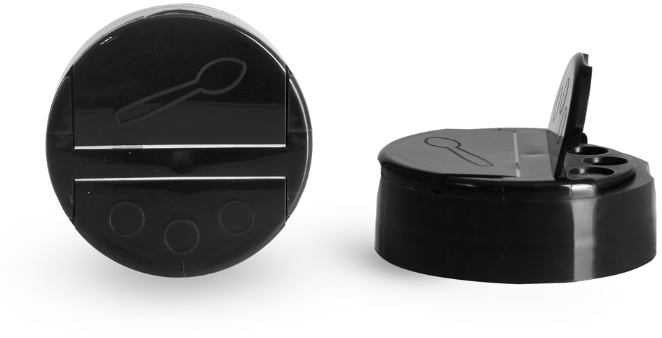 Dispensing Caps, Black Polypropylene Spice Caps w/ Pressure Sensitive Liners