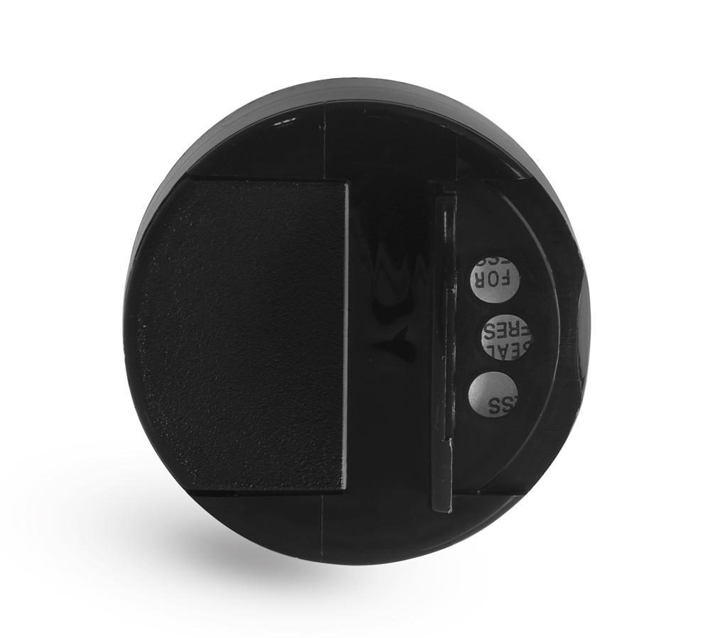 48/485 Black Polypro Spice Caps w/ Pressure Sensitive Liners