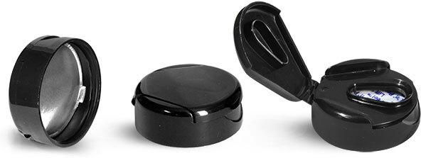 Dispensing Caps, Black Polypropylene Snap Top Lift n Peel Lined Caps