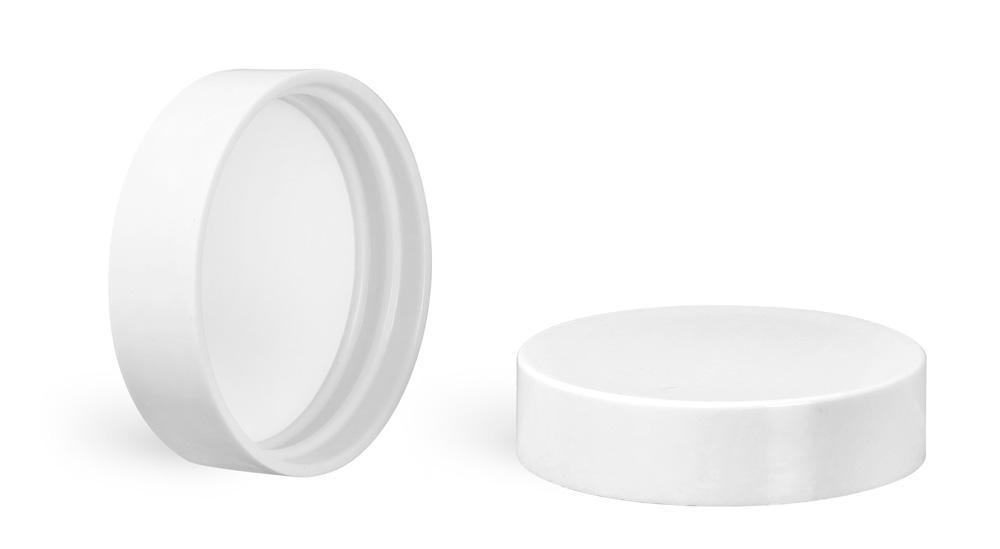 40/400 Plastic Caps, White Smooth Urea Plastic Caps w/ PE Liners