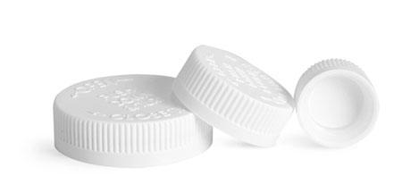 Child Resistant Caps, White PE Lined Child Resistant Caps