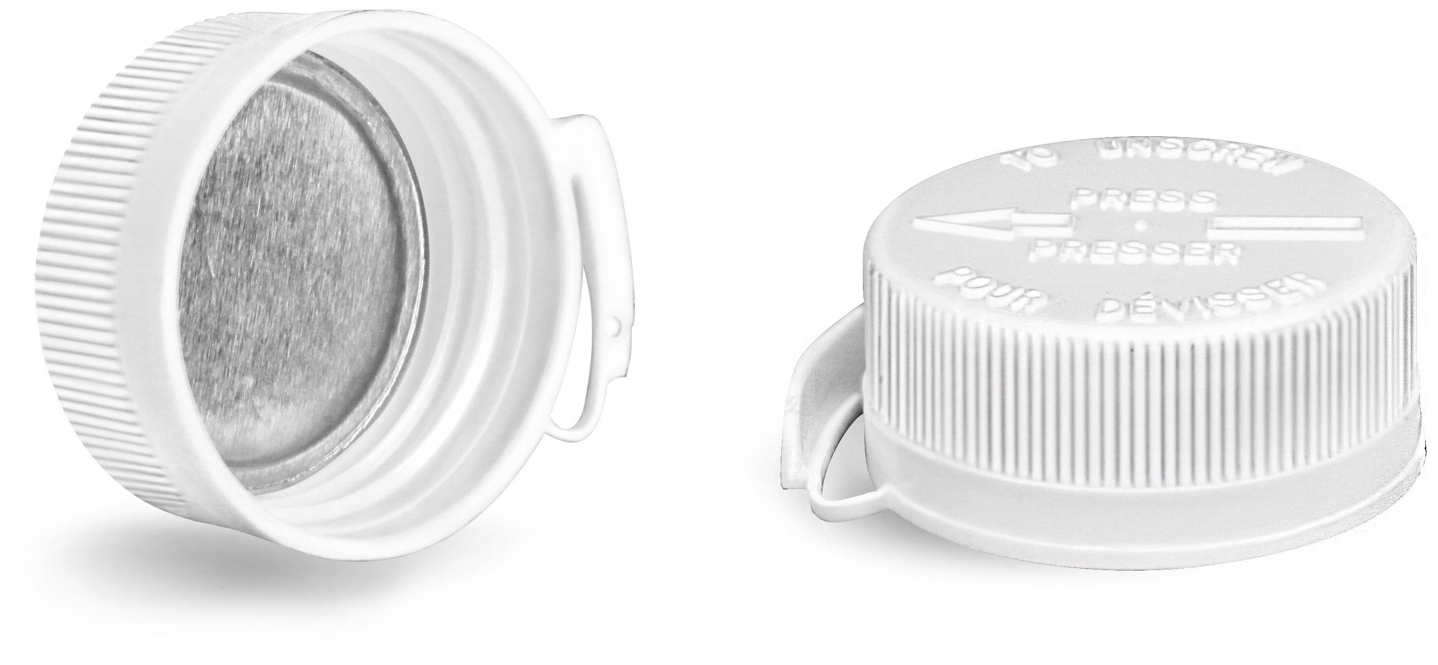 Plastic Caps, White Child Resistant Snap Lok Cap w/ Pulp to PE Liners