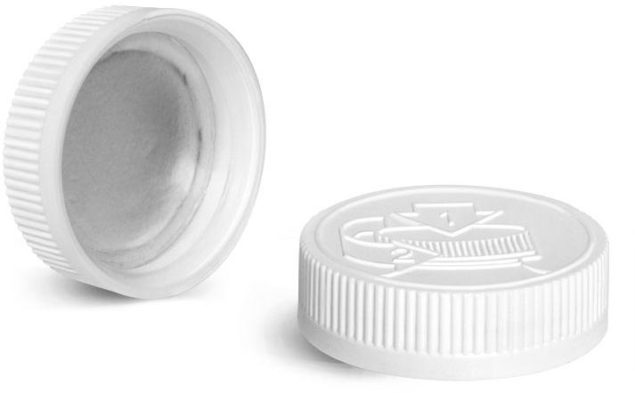 Plastic Caps, White Child Resistant Induction Lined Caps