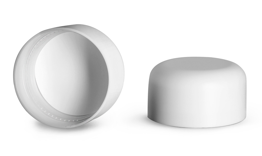 Plastic Caps, Smooth White Polypropylene Child Resistant Dome Caps For Clear Glass Child Resistant Jars