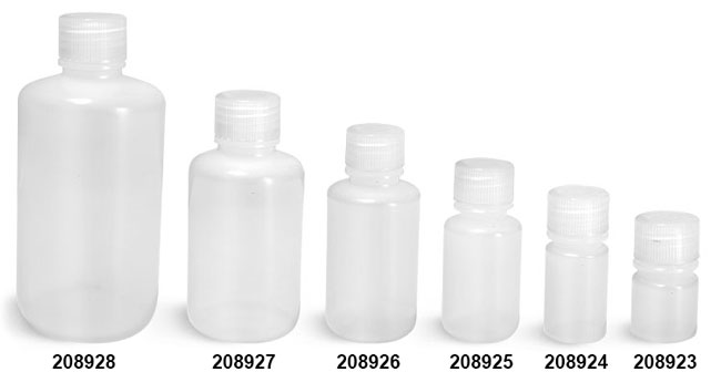 Leak Proof Water Bottles, Natural LDPE Narrow Mouth Bottles w/ Screw Caps