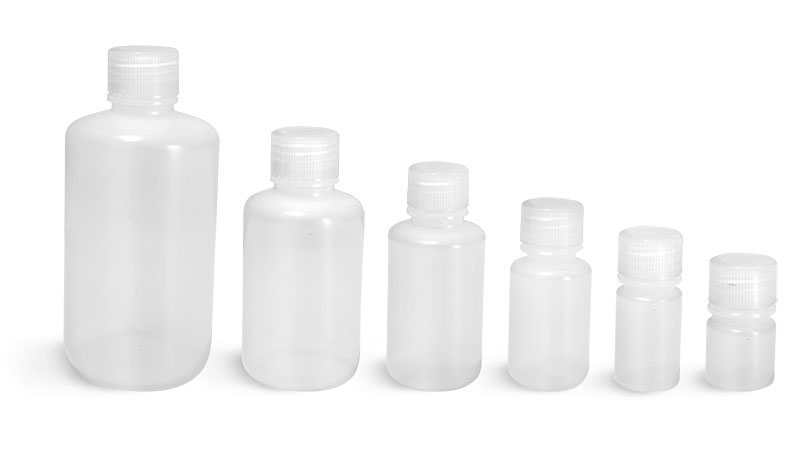 LDPE Leak Proof Water Bottles, Natural Narrow Mouth Bottles w/ Screw Caps