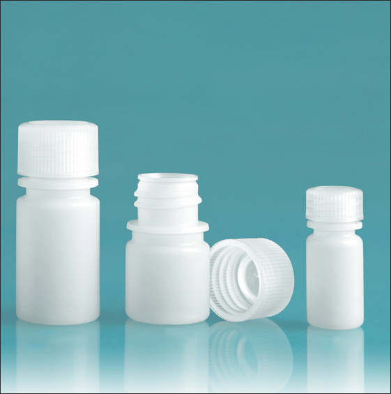 HDPE Leak Proof Water Bottles, Natural Narrow Mouth Bottles w/ Screw Caps