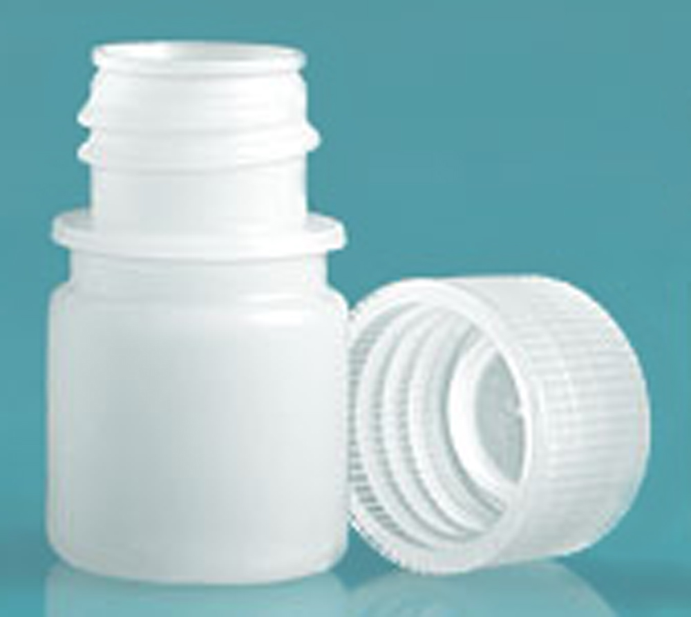 8 ml Natural HDPE Leak Proof Narrow Mouth Round Bottles w/ Screw Caps