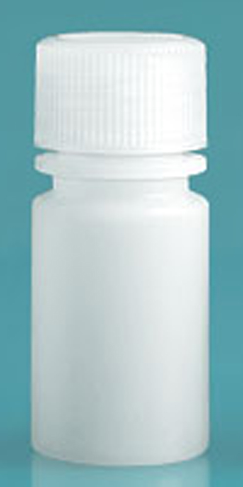 15 ml Natural HDPE Leak Proof Narrow Mouth Round Bottles w/ Screw Caps