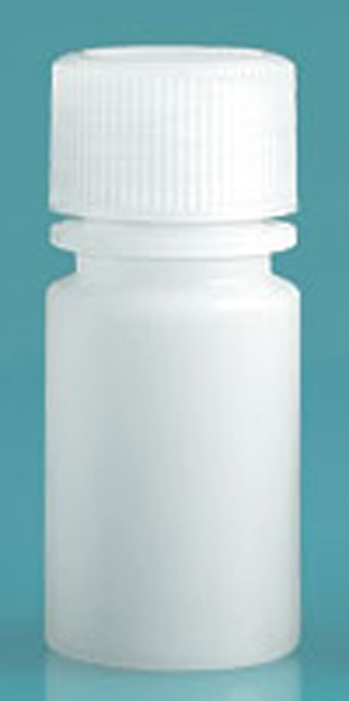 Natural HDPE Leak Proof Narrow Mouth Round Bottles w/ Screw Caps