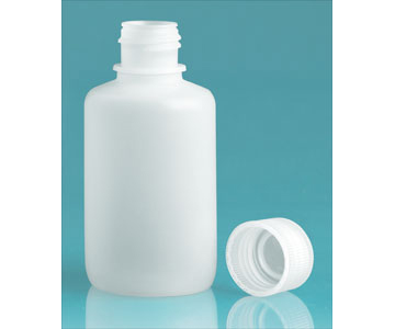 Water Bottles , Natural HDPE Leak Proof Narrow Mouth Rounds with Screw Caps