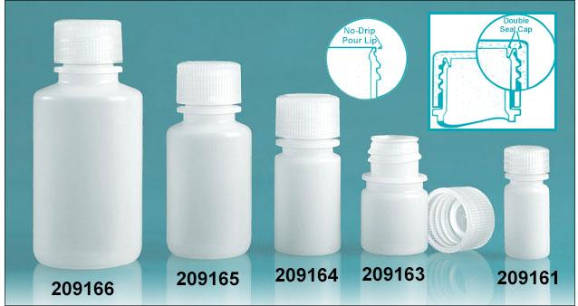 Leak Proof Water Bottles, Natural Polypropylene Narrow Mouth Bottles w/ Screw Caps