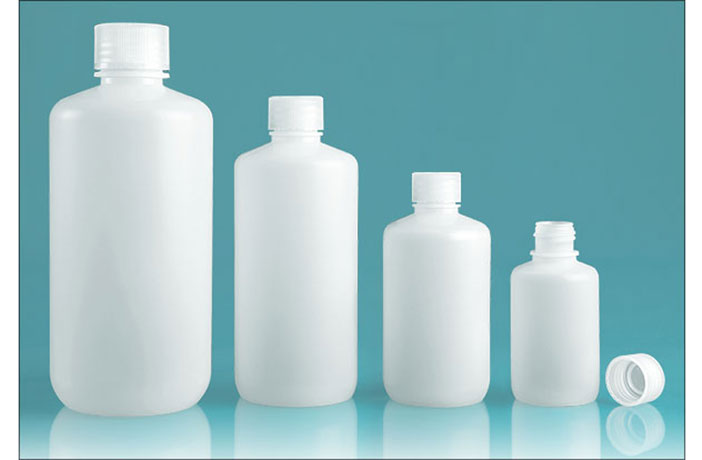 Leak Proof Water Bottles, Natural Polypropylene Narrow Mouth Bottles w/ Screw Caps