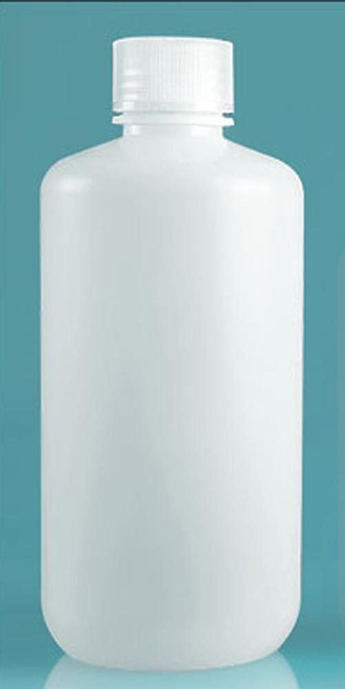 1000 ml Natural Polypropylene Narrow Mouth Leak Proof Water Bottles w/ Caps