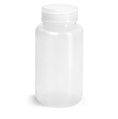 LDPE Leak Proof Water Bottles, Natural Wide Mouth Bottles w/ Screw Caps