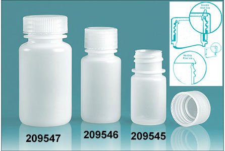 Leak Proof Water Bottles, Natural HDPE Wide Mouth Bottles w/ Screw Caps