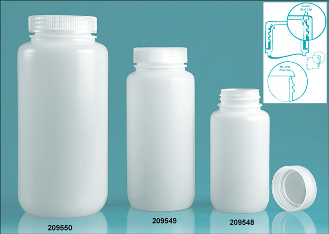 Leak Proof Water Bottles, Natural HDPE Wide Mouth w/ Screw Caps