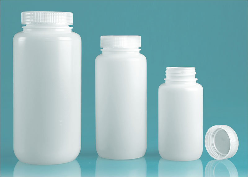 HDPE Leak Proof Water Bottles, Natural Wide Mouth Bottles w/ Screw Caps