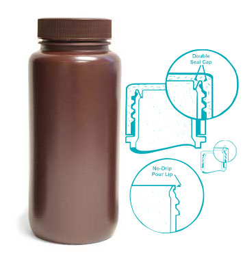 Leak Proof Water Bottles, Amber HDPE Wide Mouth Bottles w/ Screw Caps