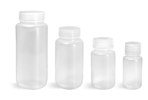 Leak Proof Water Bottles, Natural Polypropylene Wide Mouth Bottles w/ Screw Caps
