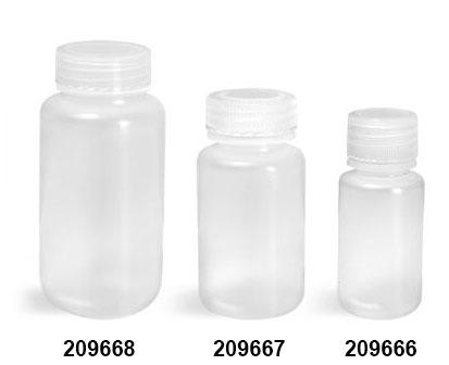 Leak Proof Water Bottles, Natural Polypropylene Wide Mouth Bottles w/ Screw Caps