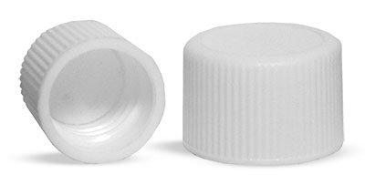 20/410   Plastic Caps, White Polypropylene Ribbed PE Lined Caps
