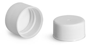 Plastic Caps, White Polypropylene Ribbed PE F217 Lined Caps