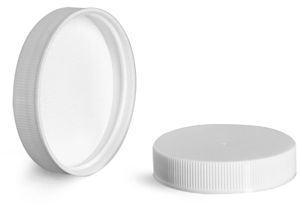 Plastic Caps, White Polypropylene Ribbed PE Lined Caps 28/400 - 58/400