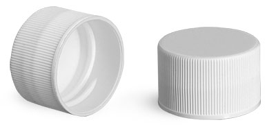 White Polypropylene Ribbed PE Lined Caps 28/410