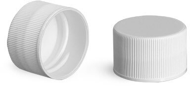Plastic Caps, White Polypropylene Ribbed PE Lined Caps