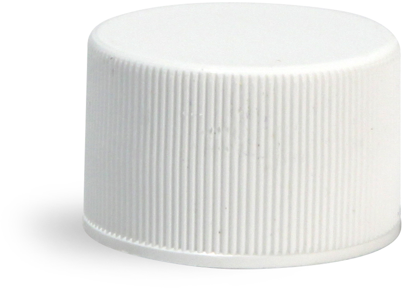 Plastic Caps, White Polypropylene Ribbed Caps w/ Foam Induction Liners