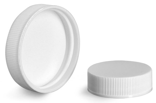 Plastic Caps, White Polypropylene Ribbed PE Lined Caps 18/400 - 45/400