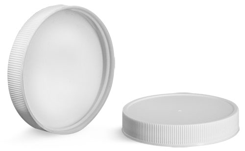 Plastic Caps, White Polypropylene Ribbed PE F217 Lined Caps 38/400 - 120/400