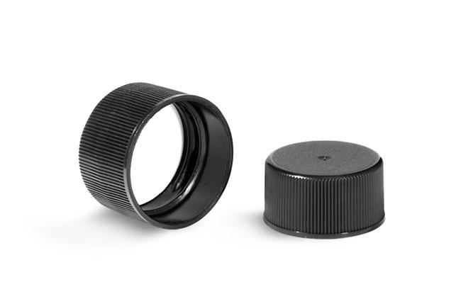 Plastic Caps, Black Polypropylene Ribbed PE F217 Lined Caps