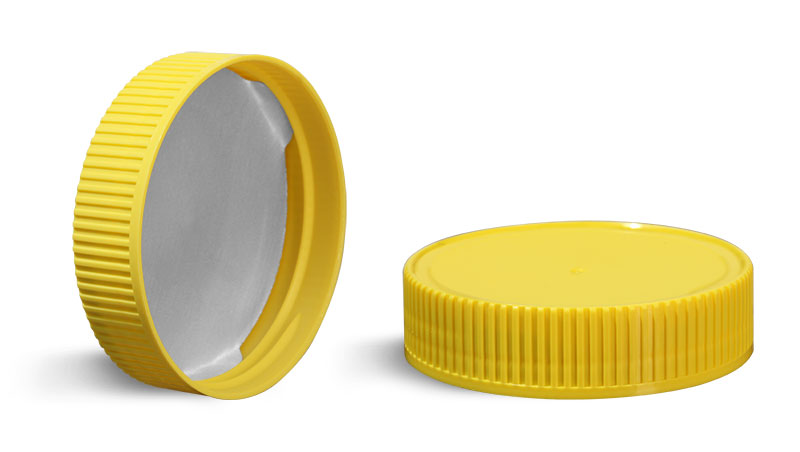 70 mm Plastic Caps, Yellow Polypropylene Ribbed Caps w/ Induction Liners