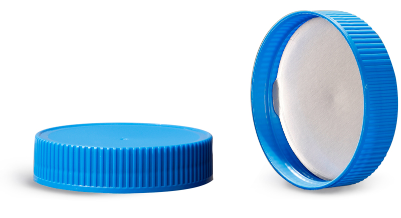 Plastic Caps, Blue Polypropylene Ribbed Caps w/ Induction Liners