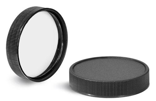 Plastic Caps, Black Polypropylene Ribbed PE Lined Caps