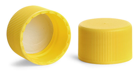 24/410 Ribbed Yellow Polypro Caps w/ Pressure Sensitive Liners