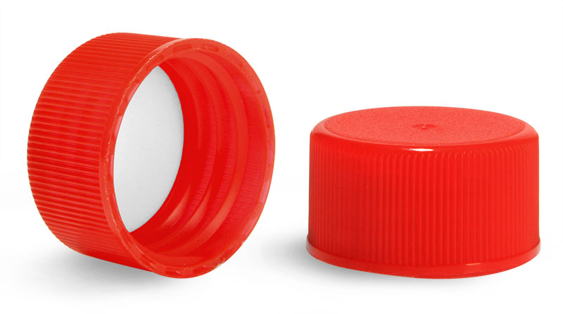 Plastic Caps, Red Polypropylene Ribbed PE Lined Caps