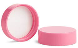 Plastic Caps, Pink Polypropylene Smooth Lined Caps