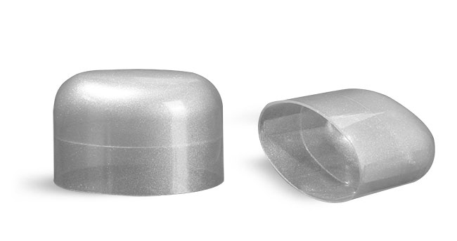 Plastic Caps, Silver Polypropylene Dome Caps for Silver Deodorant Tubes