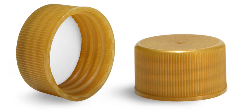 Plastic Caps, Gold Polypropylene Ribbed PE Lined Caps