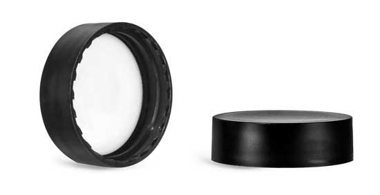 Plastic Caps, Matte Black Polypropylene Caps w/ PE-F217 Liners
