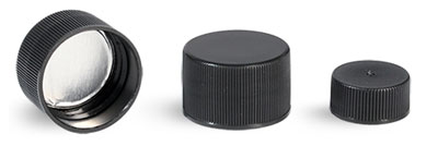 Plastic Caps, Black Polypropylene Ribbed SG-75 Lined Caps