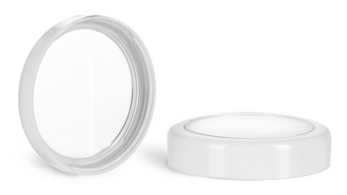 Plastic Caps, White Smooth Plastic Caps w/ Clear Windows