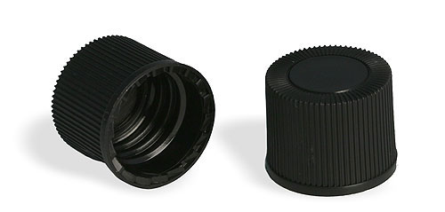 Plastic Caps, Black Polypro Ribbed Unlined Closures