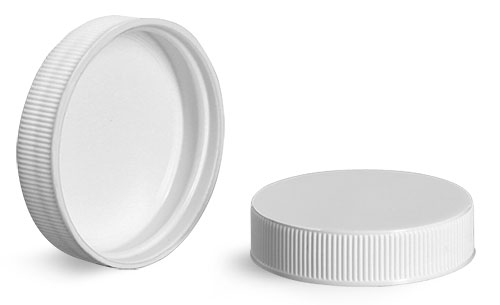 Plastic Caps, White Polypropylene Ribbed Unlined Caps