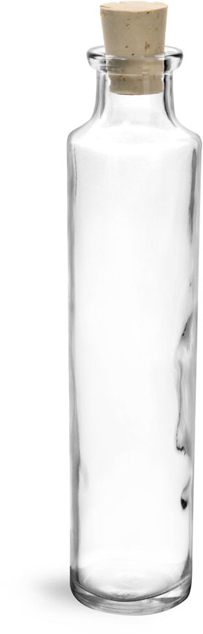 Clear Glass Tall Cylinder Bottles w/ Corks