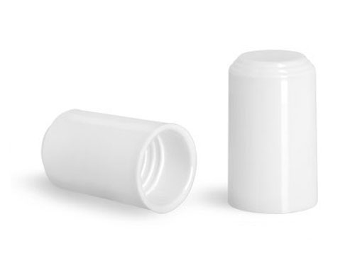 Plastic Caps, White Polypropylene Caps for 1/4 oz Roll On Containers